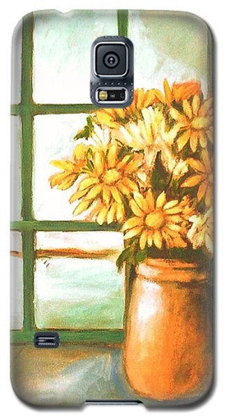 Galaxy S5 Case featuring the painting Sunflowers In Window by Winsome Gunning