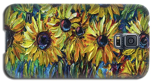 Sunflowers In A Vase Palette Knife Painting Galaxy S5 Case
