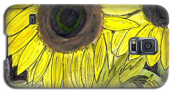 Galaxy S5 Case featuring the painting Sunflowers by Lou Belcher