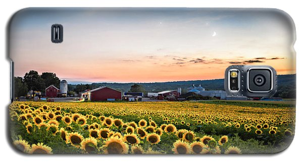Sunflowers, Moon And Stars Galaxy S5 Case by Eduard Moldoveanu