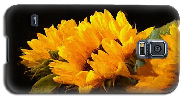 Sunflowers On A Black Background Galaxy S5 Case
