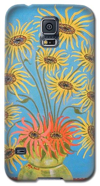 Sunflowers On Blue Galaxy S5 Case