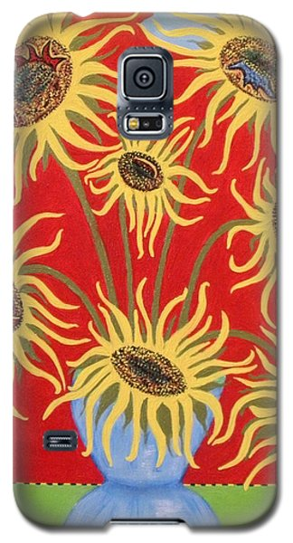Sunflowers On Red Galaxy S5 Case