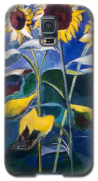 Galaxy S5 Case featuring the painting Sunflowers Standing Tall by Betty Pieper
