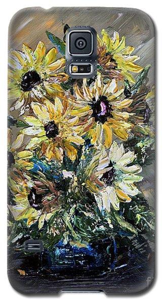 Galaxy S5 Case featuring the painting Sunflowers by Teresa Wegrzyn