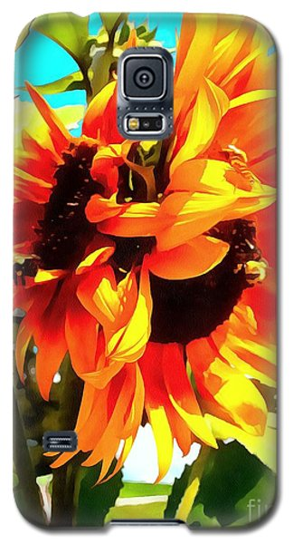 Galaxy S5 Case featuring the photograph Sunflowers - Twice As Nice by Janine Riley