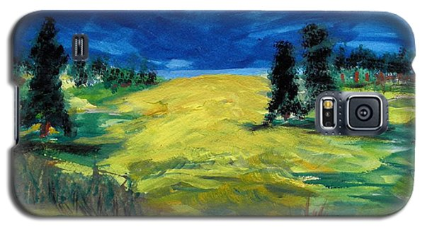 Galaxy S5 Case featuring the painting Sunny Field by Mary Carol Williams
