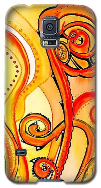 Galaxy S5 Case featuring the painting Sunny Flower - Art By Dora Hathazi Mendes by Dora Hathazi Mendes