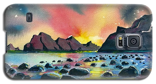 Galaxy S5 Case featuring the painting Sunrise And Water by Terry Banderas