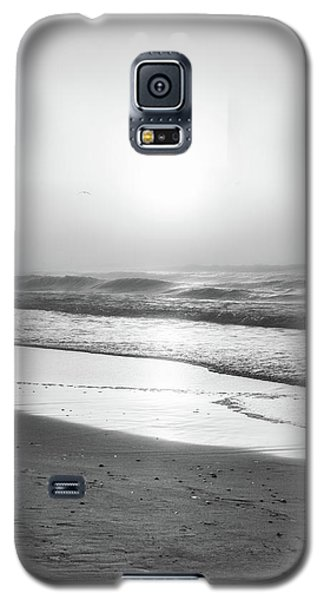 Galaxy S5 Case featuring the photograph Sunrise At Beach Black And White  by John McGraw