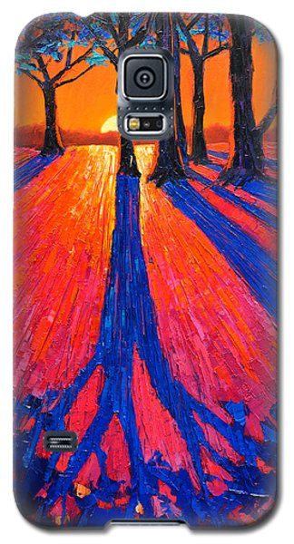 Sunrise In Glory - Long Shadows Of Trees At Dawn Galaxy S5 Case by Ana Maria Edulescu