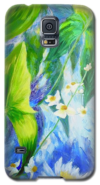 Galaxy S5 Case featuring the painting Sunrise In My Garden by Irene Hurdle