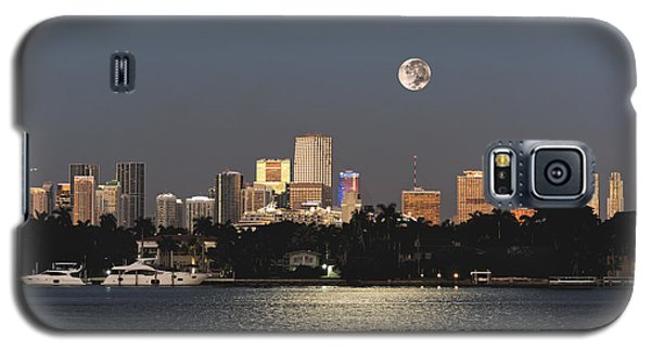 Galaxy S5 Case featuring the photograph Sunrise Moon Over Miami by Gary Dean Mercer Clark