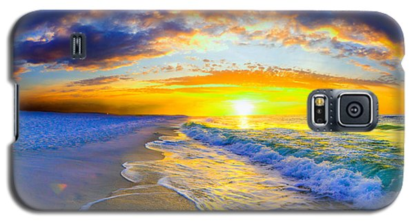 Galaxy S5 Case featuring the photograph Sunrise On Ocean Waves Beautiful Orange Sunrise by Eszra Tanner