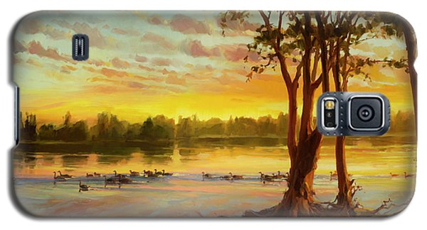 Geese Galaxy S5 Case - Sunrise On The Columbia by Steve Henderson