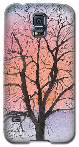 Sunrise Walnut Tree 2 Watercolor Painting Galaxy S5 Case