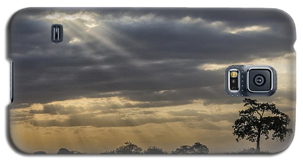 Galaxy S5 Case featuring the tapestry - textile Sunset Africa 2 by Kathy Adams Clark