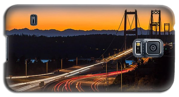 Sunset And Streaks Of Light - Narrows Bridges Tacoma Wa Galaxy S5 Case