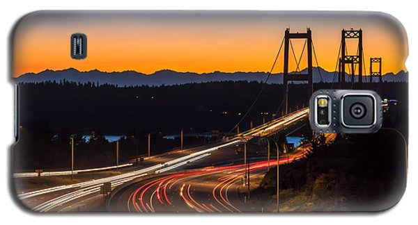 Sunset And Streaks Of Light - Narrows Bridges Tacoma Wa Galaxy S5 Case