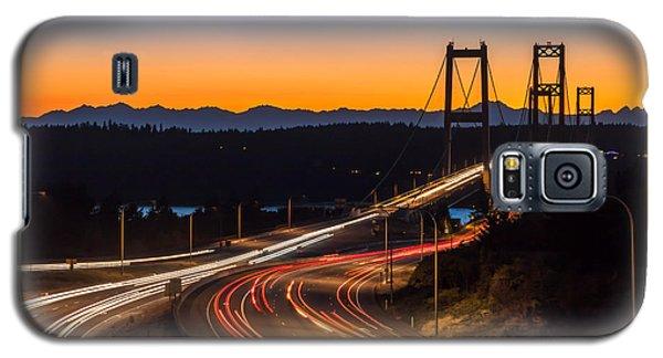 Sunset And Streaks Of Light - Narrows Bridges Tacoma Wa Galaxy S5 Case by Rob Green