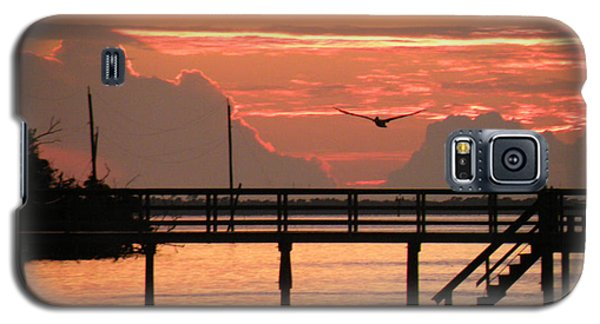 Galaxy S5 Case featuring the photograph Sunset And The Fishing Dock by Rosalie Scanlon