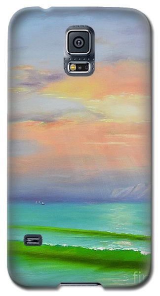 Galaxy S5 Case featuring the painting Sunset At Dana Point  by Mary Scott