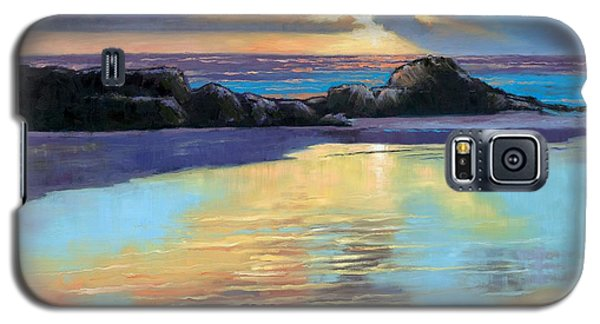 Galaxy S5 Case featuring the painting Sunset At Havika Beach by Janet King
