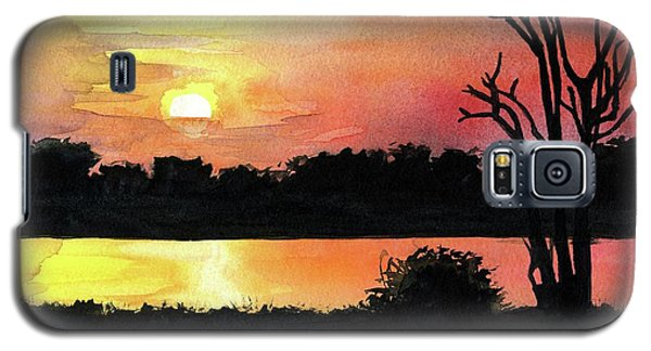 Galaxy S5 Case featuring the painting Sunset At Shire River In Malawi by Dora Hathazi Mendes