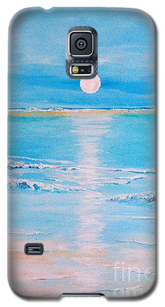 Galaxy S5 Case featuring the painting Sunset At The Beach by Teresa Wegrzyn