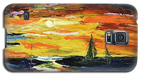 Galaxy S5 Case featuring the painting Sunset At The Oasis Lake Travis by The GYPSY And DEBBIE
