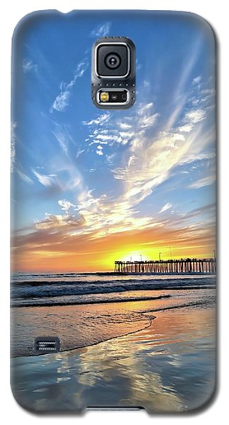 Sunset At The Pismo Beach Pier Galaxy S5 Case by Vivian Krug Cotton