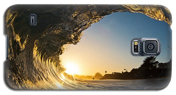 Sunset Barrel Wave On Beach Galaxy S5 Case by Paul Topp