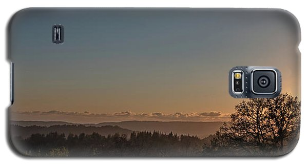 Sunset Behind Tree With Forest And Mountains In The Background Galaxy S5 Case