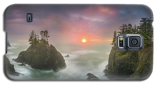 Sunset Between Sea Stacks With Trees Of Oregon Coast Galaxy S5 Case