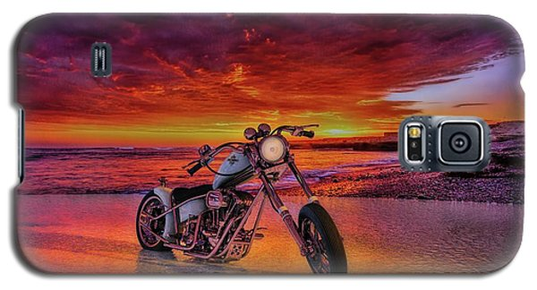 Galaxy S5 Case featuring the photograph sunset Custom Chopper by Louis Ferreira