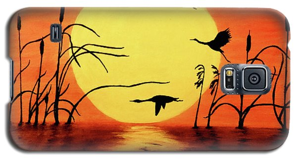 Geese Galaxy S5 Case - Sunset Geese by Teresa Wing