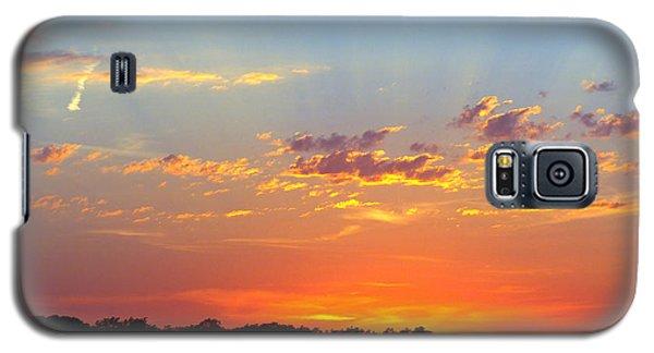 Galaxy S5 Case featuring the digital art Sunset Glory Orange Blue by Jana Russon