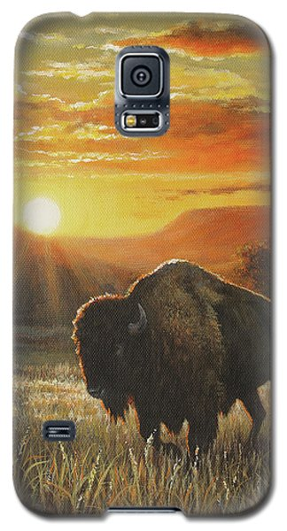 Galaxy S5 Case featuring the painting Sunset In Bison Country by Kim Lockman