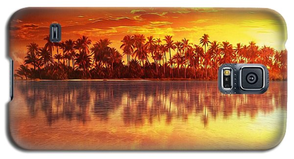 Galaxy S5 Case featuring the mixed media Sunset In Paradise by Gabriella Weninger - David