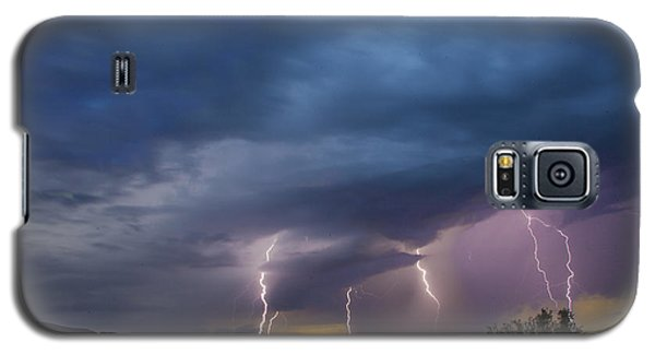 Galaxy S5 Case featuring the tapestry - textile Sunset Lightning by Kathy Adams Clark