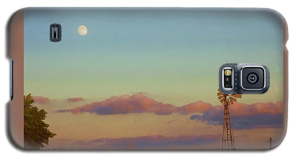 Sunset Moonrise With Windmill  Galaxy S5 Case
