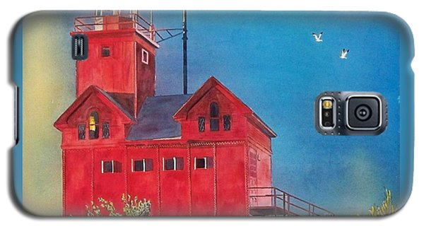 Galaxy S5 Case featuring the painting Sunset On Holland Light by LeAnne Sowa