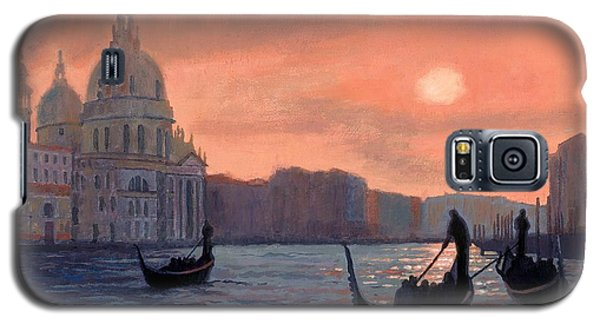 Galaxy S5 Case featuring the painting Sunset On The Grand Canal In Venice by Janet King