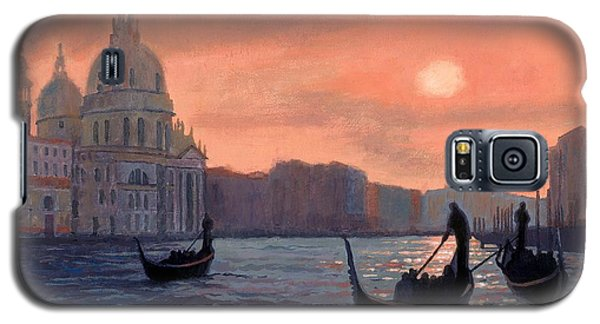 Sunset On The Grand Canal In Venice Galaxy S5 Case by Janet King