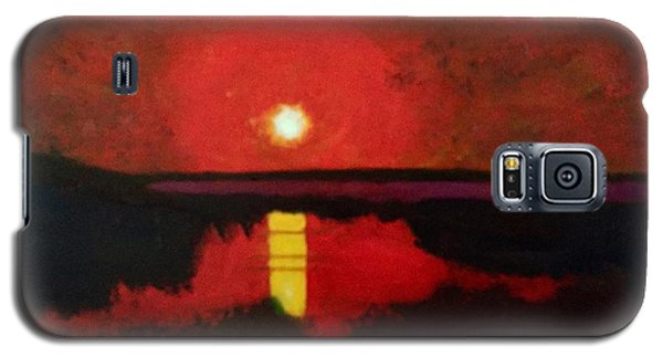 Galaxy S5 Case featuring the painting Sunset On The Lake by Donald J Ryker III