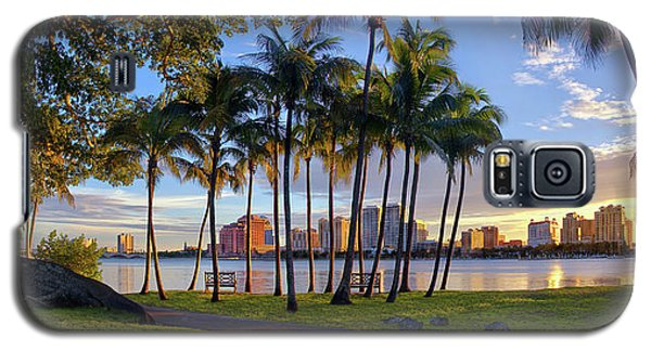 Sunset Over Downtown West Palm Beach From Palm Beach Island Galaxy S5 Case by Justin Kelefas