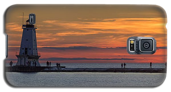 Galaxy S5 Case featuring the photograph Sunset Over Ludington Panoramic by Adam Romanowicz