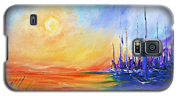 Galaxy S5 Case featuring the painting Sunset Over The Sea by AmaS Art