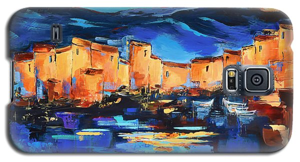 Galaxy S5 Case featuring the painting Sunset Over The Village 2 By Elise Palmigiani by Elise Palmigiani
