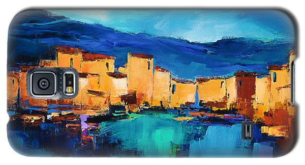 Galaxy S5 Case featuring the painting Sunset Over The Village 3 By Elise Palmigiani by Elise Palmigiani